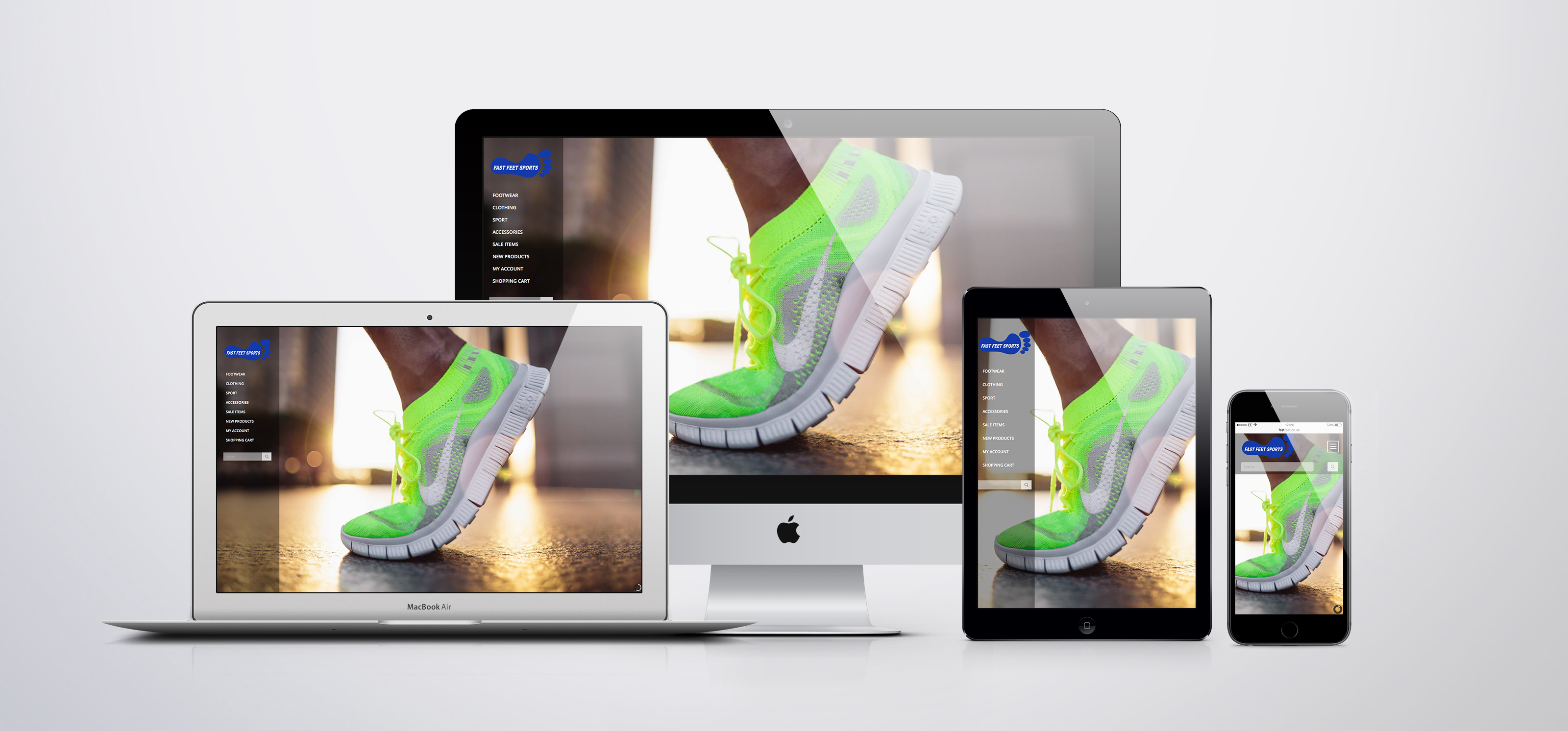 Fast Feet website shown on multiple devices