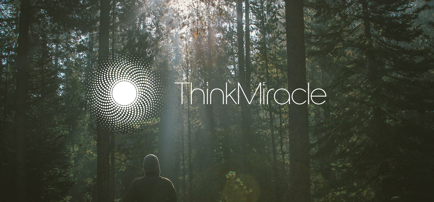 Think Miracle full logo on a woodland back drop