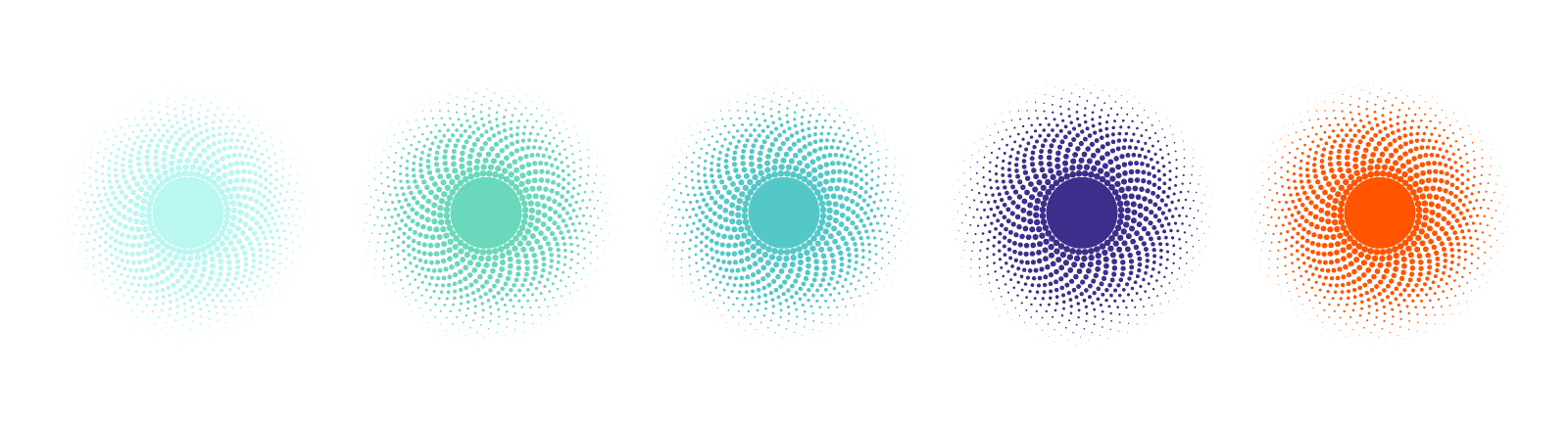 Think Mircal logo spirals colour variations