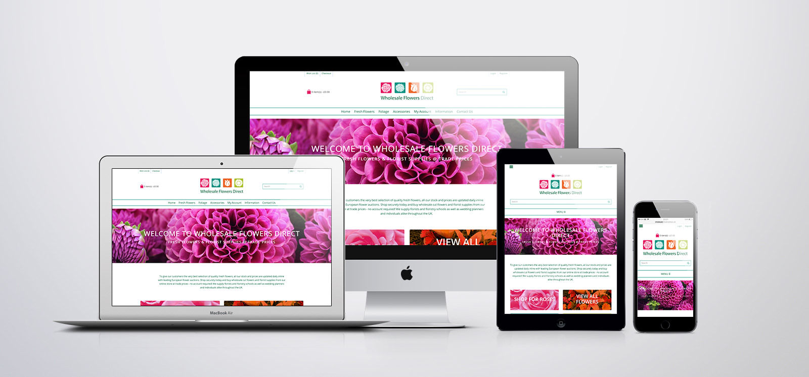 wholesale Flowers Direct website - multiple devices